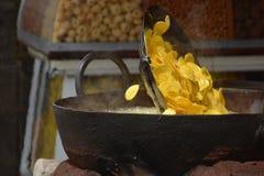 Fried banana chips Stock Photo