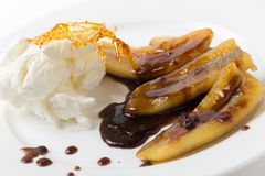Fried banana dessert side view Royalty Free Stock Image