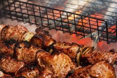 Fried juicy bbq meat and fish in a grill on a fire cooking food on a bonfire Stock Photos