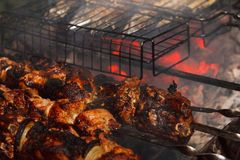 Fried juicy bbq meat and fish in a grill on a fire cooking food on a bonfire Royalty Free Stock Photo
