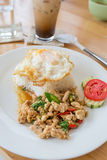 Fried basil leave with pork and Fried egg Royalty Free Stock Photography