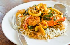 Fried basil leave with squid and shrimp Royalty Free Stock Images