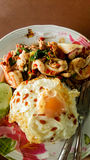 Fried basil mixed seafood Royalty Free Stock Images