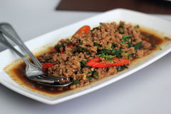 Fried basil Pork (Krapao Moo) Stock Images