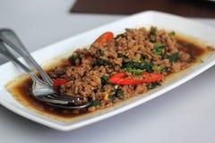 Fried basil Pork (Krapao Moo) Stock Images