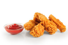 Fried in batter chicken wings and ketchup Royalty Free Stock Photos
