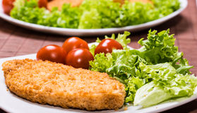 Fried battered chicken breast. Fillet  with lettuce on the plate Stock Images