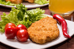 Fried battered chicken breast. Fillet  with lettuce on the plate Stock Photography