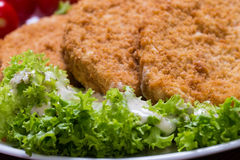 Fried battered chicken breast. Fillet  with lettuce on the plate Royalty Free Stock Photo