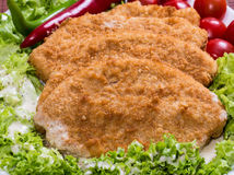 Fried battered chicken breast. Fillet  with lettuce on the plate Stock Photos