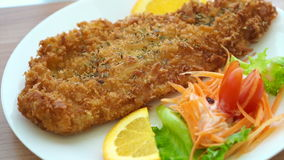 Fried battered Fish and colourful salad. Video of Fried battered Fish and colourful salad