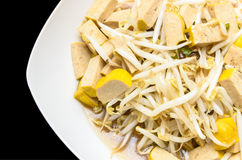 Fried bean sprouts and Soybean curd Royalty Free Stock Images