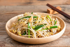 Fried bean sprouts, Vegetarian food. Stock Photo