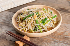 Fried bean sprouts. Vegetarian food. stock photo