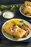 Fried Beef Chimichanga Burrito profundo imágenes de archivo libres de regalías