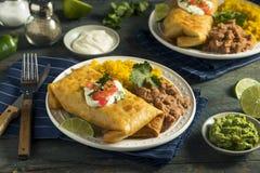 Fried Beef Chimichanga Burrito profundo foto de archivo libre de regalías