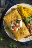 Fried Beef Chimichanga Burrito profundo foto de archivo