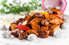 Fried beef with mushroom and Pitaya Stock Photos