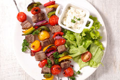 Fried beef with salad Stock Photo
