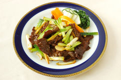 Fried beef with scallion. Chinese cuisine. yumcha, chinese food Royalty Free Stock Photo