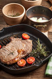 Fried beef steak. Royalty Free Stock Image