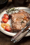 Fried beef steak. Royalty Free Stock Image