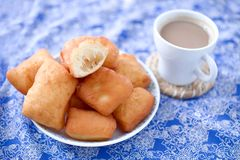 Fried beignets. With sugar, sweet and delicious New Orleans dessert stock image