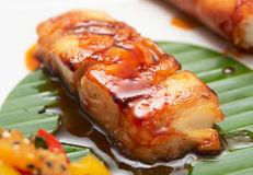 Fried black cod with soy sauce Stock Image