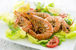 Fried Black Tiger Prawns Stock Photos