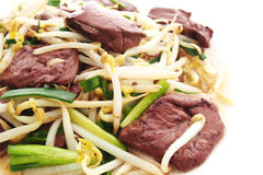 Fried blood jelly with bean sprouts Stock Photos