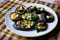 Fried blue eggplants with fresh garlic and greens on a round white plate, hot and appetizing. Homemade cooking. royalty free stock images