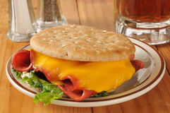 Fried bologna sandwich with root beer Stock Photo