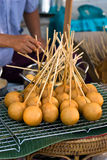 Fried bread ball stick Royalty Free Stock Images