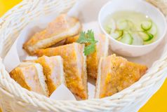 Fried bread with minced pork spread. Closeup Fried bread with minced pork spread Royalty Free Stock Photo