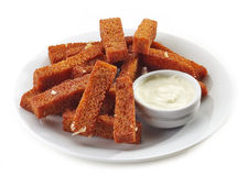 Fried bread sticks with garlic and sauce Royalty Free Stock Photos