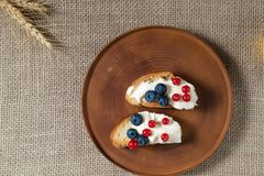 Fried bread, toast with yoghurt and berries, bilberries, blueberries and red currants on a wooden plate o Royalty Free Stock Images