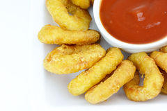 Fried breaded calamari Stock Images