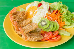 Fried breaded chicken Milanese with Salad. A fried breaded chicken Milanese with Salad Stock Image
