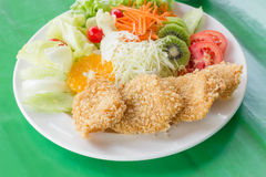 Fried breaded chicken Milanese with Salad Royalty Free Stock Photo