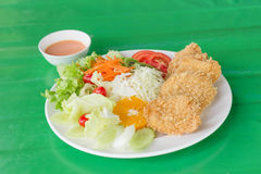 Fried breaded chicken Milanese with Salad Royalty Free Stock Image