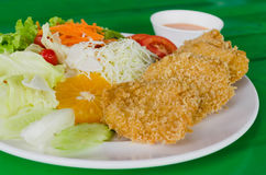 Fried breaded chicken Milanese with Salad Stock Images