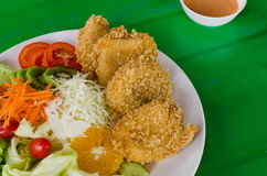 Fried breaded chicken Milanese with Salad Royalty Free Stock Photography