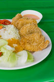 Fried breaded chicken Milanese with Salad Stock Photo