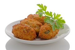 Fried breaded cod fish Stock Photos