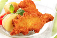 Fried breaded fish with potatoes Royalty Free Stock Photos