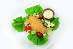 Fried breaded fish Salad Royalty Free Stock Images
