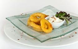 Fried Breaded Onion Rings avec de la sauce Image stock