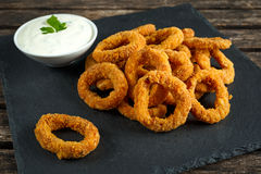 Fried Breaded Onion Rings with sauce on stone board Stock Images