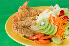 Fried breaded prawn Milanese with Salad. A fried breaded prawn Milanese with Salad Royalty Free Stock Images