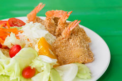 Fried breaded prawn Milanese with Salad. A fried breaded prawn Milanese with Salad Royalty Free Stock Image